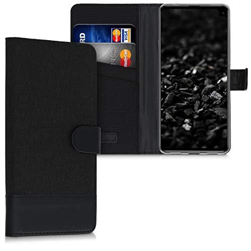 kwmobile Wallet Hülle kompatibel mit Cubot Max 2 - Hülle mit Ständer - Handyhülle Kartenfächer Anthrazit Schwarz
