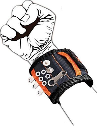 Muñequera Magnetica Pulsera Ajustable Con 20 Potentes Imanes, Que Sostienen Tornillo,Clavos,Perno,Broca, Regalos para Hombres, Bricolaje, Electricistas, Carpinteros