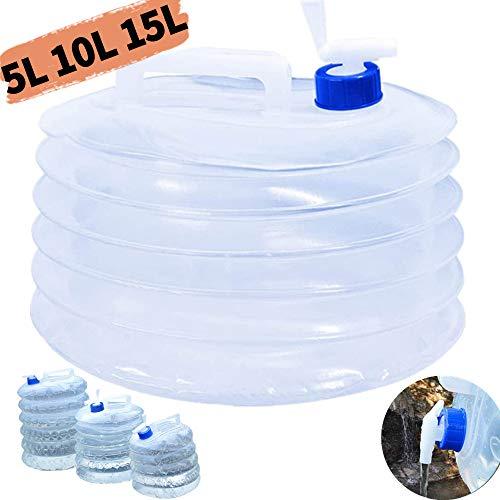 DUTISON 5L 10L 15L Faltbarer Wasserkanister, Wasserbehälter Wassertank, mit Wasserhahn, BPA-frei, Tragbare Perfekt für Camping, Wandern, Klettern oder andere Aktivitäten im Freien(Transparent)