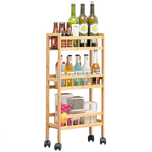 COPREE Bamboo 3-Tier KitchenRemovable Storage Cart, Slim Slide OutRolling Pantry Shelf