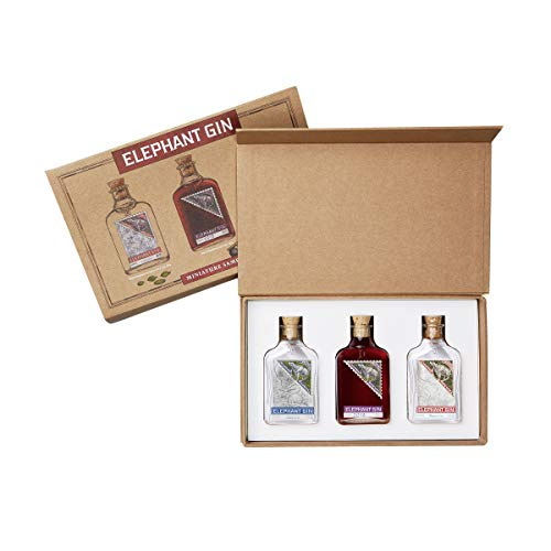 Elephant Gin Tasting Set London Dry Gin 0,05ml (45% Vol) + German Sloe Gin 0,05ml (35% Vol) + Elephant Strength 0,05ml (57% Vol) Miniaturen- [Enthält Sulfite]