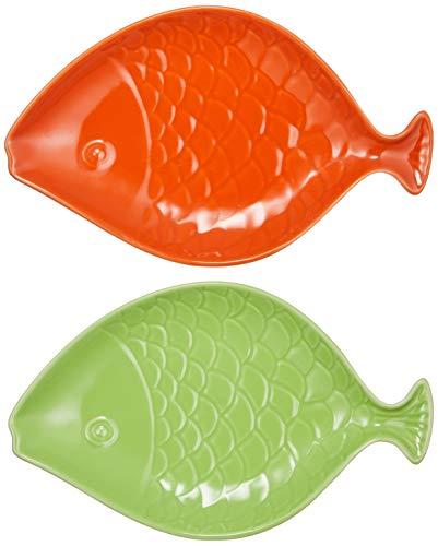 nikka(日華) ペット食器 猫 小型犬 魚形 陶器 ウォーターボウル フードボウル キャットボウル 猫皿 食器台 2個セット (オレンジ/グリーン) (まとめ買い)