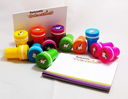 Partynelly 12x Stempel Einhorn + Zugabe 2x Partynelly Notizblöckchen | verschiedene Farben |...