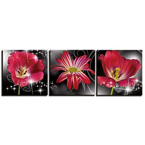 MMLFY 3 stuks canvas bloemen planten 3 stuks populaire foto's op canvas foto's voor muurfoto's en foto's voor de woonkamer No Frame 30x30cmx3 No Frame
