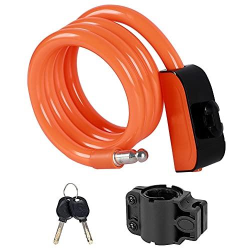 JXHYKJ 1.2M Cable de Cable de Bicicleta Bloqueo de Bicicleta Motocicleta Equipo de Ciclismo for el Cuidado de la Bicicleta Personal de Cuidado al Aire Libre (Color : Orange)