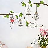 Dibujos Animados Lindo pájaro Jaula de árbol Rama Pegatinas de Pared Papel Pintado DIY Vinilo casa Tatuajes de Pared para niños Sala de Estar Dormitorio niñas Sala de decoración