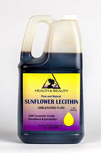Lecithin Sunflower Unbleached Fluid Liquid Emulsifier Emollient Stabilizer Pure 128 oz, 7 LB, 1 gal