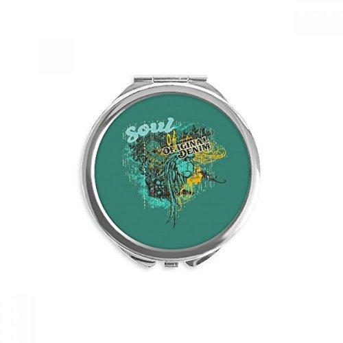 DIYthinker graffiti street soul of mirror original denim ronde maquillage de poche à la main portable 2,6 pouces x 2,4 pouces x 0,3 pouce Multicolore