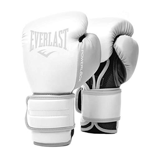 EVERLAST Powerlock 2R - Guantes de Entrenamiento (14 oz), Color Blanco