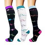 ACTINPUT 7 Pares Calcetines de compresión para Mujeres y Hombres 20-25 mmHg es el Mejor atlético, Correr,Escalar Montaña,Vuelo, Viajes, Enfermeras, Edema (Color 06-3 Pares, L-XL)