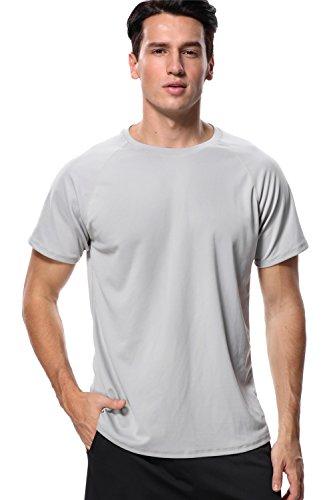 anfilia Mens Surf Rash Guard Loose Fit Sunsuit Sun Protection Wetsuit Light Gray XL
