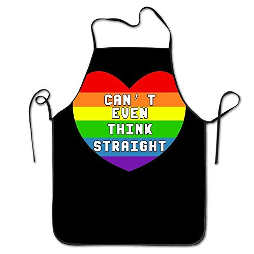 AshasdS AfagaS Can't Even Think Straight Gay & Lesbian Pride Design Chef Apron for Women Men Barber Cooking Crafting