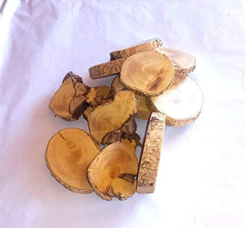 Rebanadas de madera de boj, 12 unidades. Ideales para bricolaje, pirografiar, tallar, taladrar y decorar.