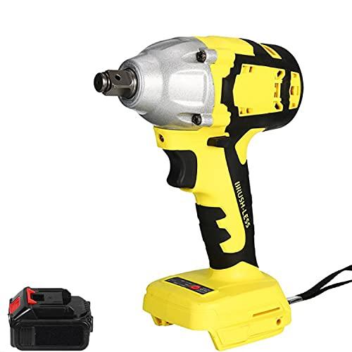 Llave impacto inalámbrica sin escobillas 1/2 ', destornillador impacto de 18V, broca taladro inalámbrico 580 Nm, destornillador eléctrico 4000 rpm, interruptor continuo, luz trabajo LED,1 battery