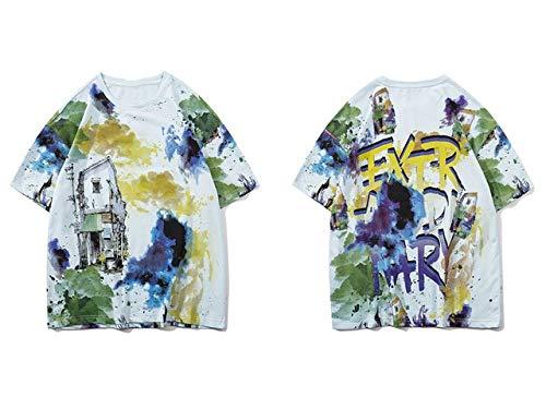 GVDFSEYL Graffiti Inkt Landschap Schilderen Print Tshirts Streetwear Mannen Harajuku Casual T-shirt met korte mouwen Top Zomer Shirt