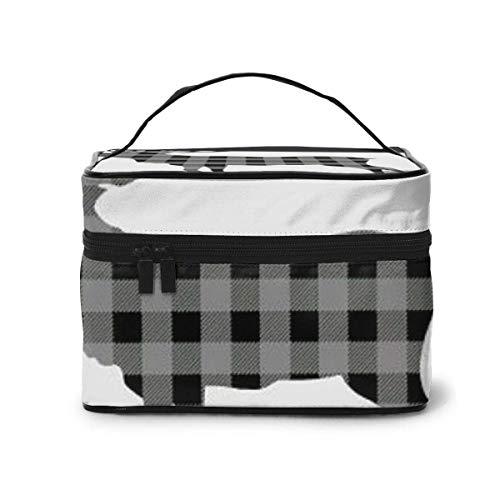 Gris et Noir Buffalo Plaid Moose Travel Cosmetic Organizer Sac de Rangement Portable, Trousse de Toilette Multifonction