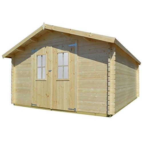 vidaXL Massivholz Gartenhaus 2 Türen mit 2 Fenstern Blockhaus Gerätehaus Schuppen Holzhaus Geräteschuppen Gartenhütte Holzhütte 34mm 4x4m