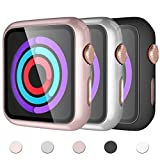 Mastten 3-Pack Screen Protector Compatible with Apple Watch 42mm,Build-in HD Tempered Glass PC Full Coverage Protective Case Cover Compatible for iWatch Series 3 2 1, Black Silver Rose Gold