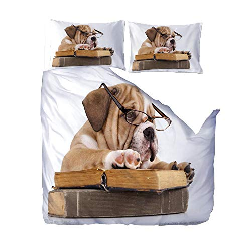 Duvet Cover Set 3D Printed 220X230Cm Reading Book Animal Dog With Zipper Closure For Bedding Decro, Ultra Soft Microfiber,Double,(1 Duvet Cover + 2 Pillowcases)