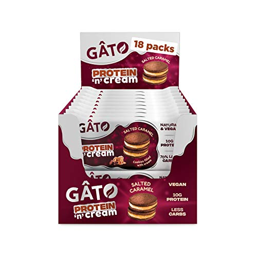 Gato Vegan Protein 'n' Cream Cookies, Protein and Vegan Snacks, Low Carb, Gluten Free, Box of 18