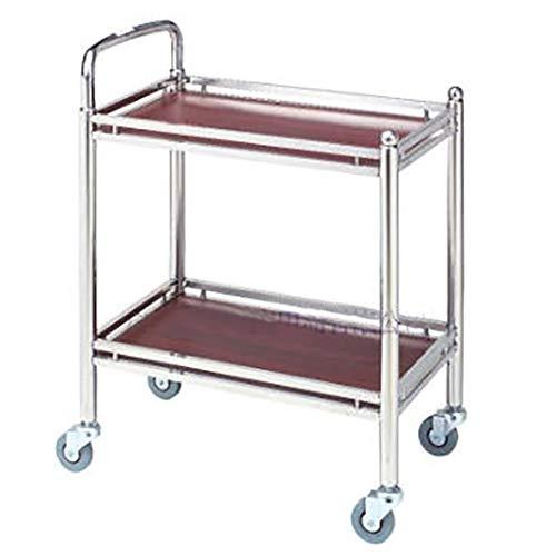 Teewagen Servierwagen Utility Kitchen Aufbewahrungswagen 2 Tier Bar Weinwagen, 360 ° Rollen, mit Holzarbeitsplatte und Stahlrahmen, für Hotelrestaurant (60x33x77CM)
