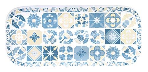 Les Jardins de la Comtesse - Petit Plateau rectangulaire en Mélamine Pure Bleu/Beige - Plat Long de Présentation du Service de Table Lisbonne - Collection Vaisselle MelARTmine - 37,5 cm