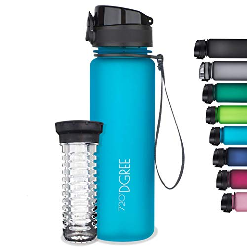 720°DGREE Sports Detox Fruit Infuser Water Bottle for Office, Gym, School, Travel, etc. | Sipper for Kids & Adults | 500ml | Crystal Clear Blue