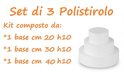 ARCOBALENOPARTY Set da 3 Basi di Polistirolo per Torte Tondo Altezza 10 cm(1 Polistirolo 20 cm h10 - 1 Polistirolo 30 cm h10 - 1 Polistirolo 40 cm h10)