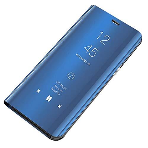 Custodia Galaxy S9 Cover Specchio Case Clear View Standing Mirror Flip Custodia Portafoglio Galaxy S9 Folio Ultra Flip Stile Pelle Libro Fondina per Samsung Galaxy S9 (S9, Blu)
