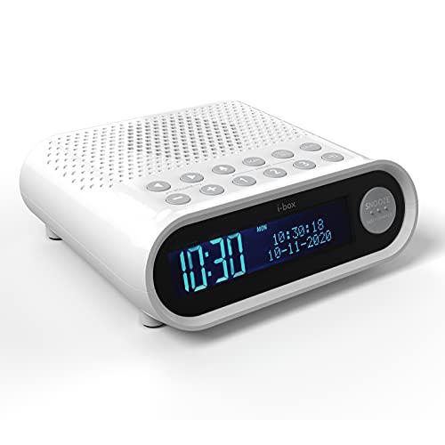 Radiowecker DAB/DAB Plus/FM mit USB-Ladefunktion, Dimmbarem Großen Digitalen Display, Zweifachalarmfunktion und 3W-Lautsprecher (Weiß)