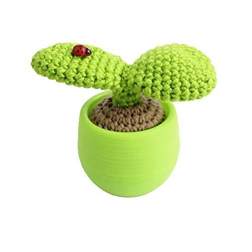 HOLEBAY-EU – Simulación de Tejer a Mano Plantas suculentas innovadoras Bonsai Adornos de Lana Cactus cómodo