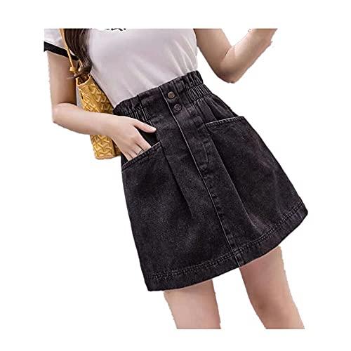 N\P Mini falda de mezclilla de cintura alta Harajuku Vintage Casual All-Match