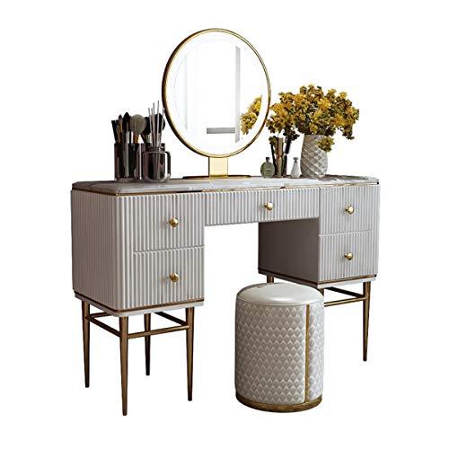 CJHOME El Juego de tocador, tocador Moderno LED, tocador Blanco con cajones Grandes, tocador con Espejo y Taburete es la Mejor opción para Muebles de Dormitorio de niñas.