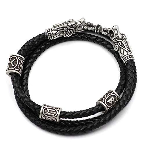 Lederarmband Herren Retro Manschette Armreif, Drachenkopf Armband Silber Wikinger Schmuck Herren Mode Geschenke Stil 3