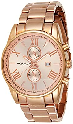 Akribos XXIV Hombres pantalla Swiss analógico de cuarzo reloj con pulsera de acero inoxidable