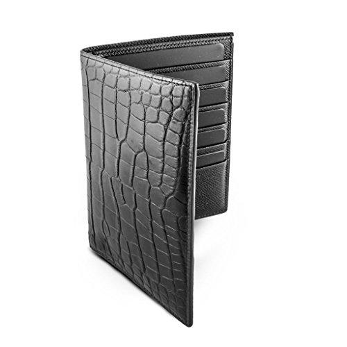 Marochinerie de Luxe – Portafoglio classico platinio: pelle Alligator o coccodrillo nero opaco – Made in France.