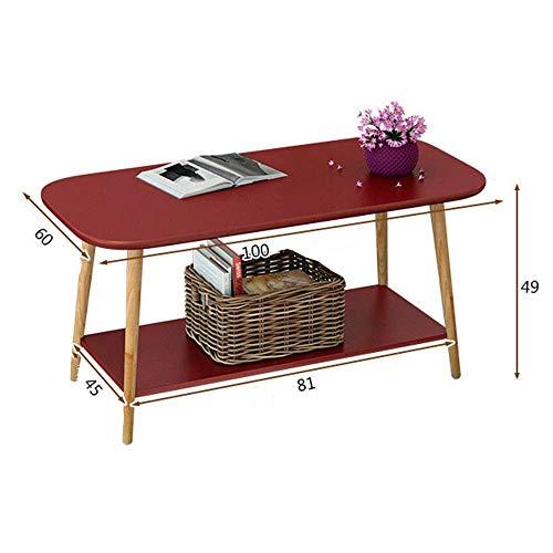 Good Tv staande lamp telefoontafel bijzettafel eiken tafel Fanuosu woonkamer bijzettafel koffietafel plank cocktailtafel bijzettafel tafel eettafel voor woonkamer (Fa 60 * 49 * 100 cm rood