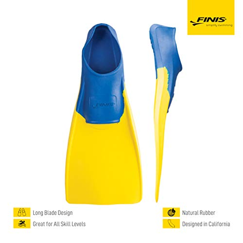 FINIS Long Floating Fins , Blue/Yellow, XS (US Male 1-3 / US Female 2-4)