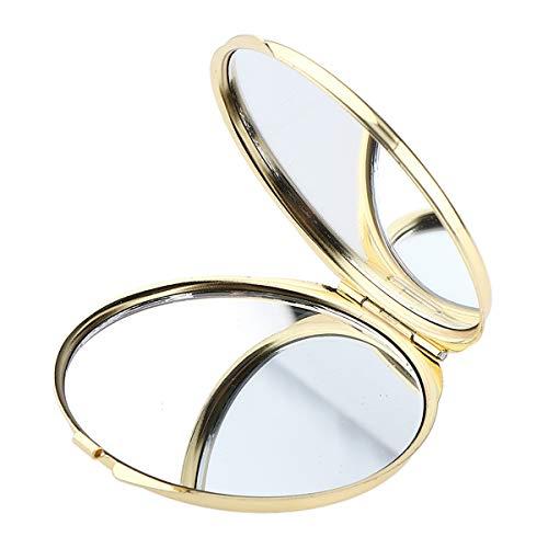 Maquillage compact Miroir cosmétique grossissant Miroir de maquillage pour Sac Purse Voyage Home Office Miroir d'or