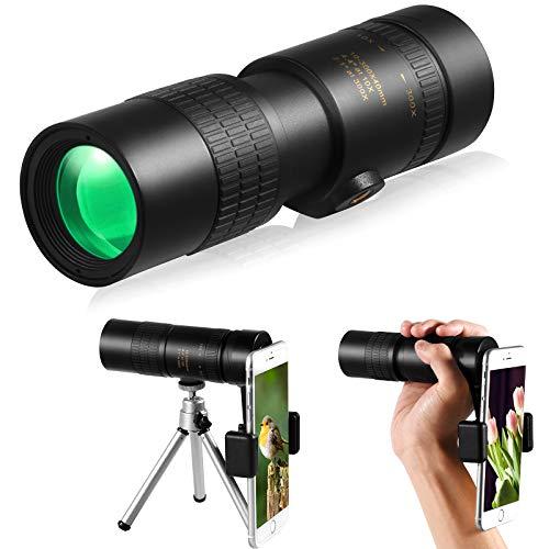 Telescopio monocular con zoom 4K 10-300x40mm Telescopio monocular portátil con soporte para smartphone y trípode, monocular para visión nocturna para caza, camping, viajes y senderismo