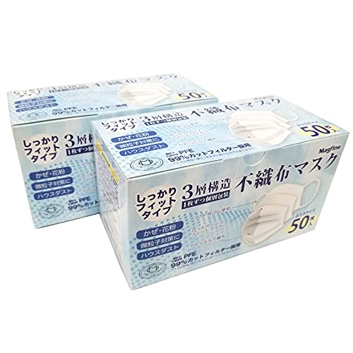 全国マスク工業会正会員・国内実証データ取得済三層構造不織布マスク 使い捨て ホワイト 1箱50枚入2020年9月から個別包装・品質改良 (2-1. ふつうサイズ 個包装50枚入×2箱セット)