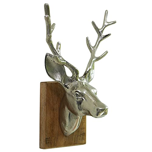 Exner Geweih Rentier Trophäe Silber Deko Dekoration aus Aluminium und Holz – Edle Wanddekoration 20x18x32 cm