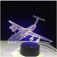 3Dイリュージョンナイトライト 航空機 スマートタッチ キッズ3D目の錯覚7色LEDナイトライトボーイキッズおもちゃベビースリープデスクランプ寝室の装飾誕生日クリスマスクリエイティビティギフト