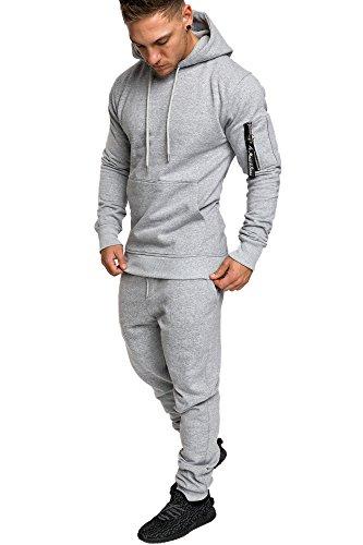 Amaci&Sons Herren Kontrast Sportanzug Jogginganzug Trainingsanzug Sporthose+Jacke 1006 Hellgrau XL