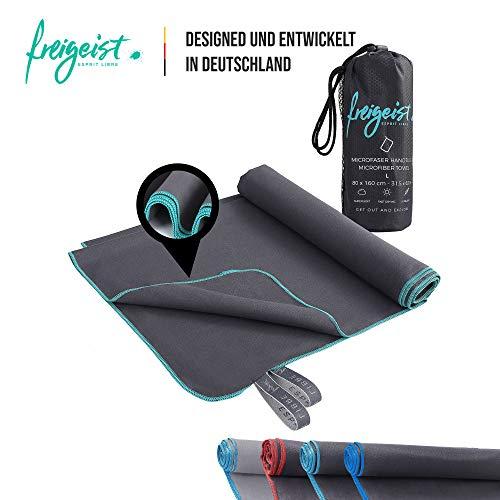 freigeist Mikrofaser-Handtuch Set schwarz/türkis [100x50cm + 160x80cm], Badetuch + Handtuch, perfekt für Reise, Sport und Camping