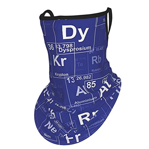 Q&SZ Sweatshirt Periodic Table Chemistry Elements In Abstract Style Science Class Backdrop Royal Blue and Whiteear Hangers UV Protection Neck Gaiter Scarf, Outdoor Headband For Fishing Cycling Hiking