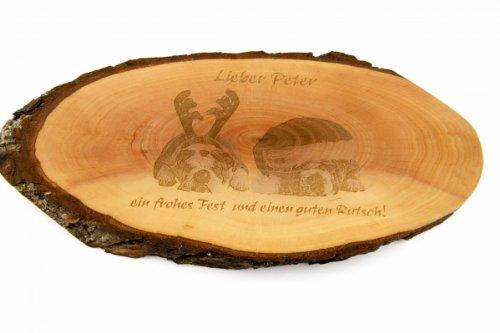 Brotzeitbrett oder Wandschmuck: Rindenscheibe roh, 27-31 cm mit Gravur Ihres Fotos und Wunschtext
