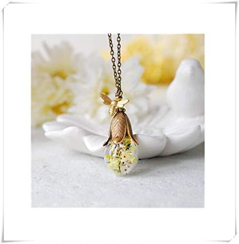 Echt Blume Halskette, Gold Honig Biene Getrocknete Gelbe Blume Schmuck