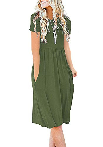 DB MOON Women Summer Casual Short Sleeve Dresses Empire Waist Dress with Pockets (Army Green, XS)
