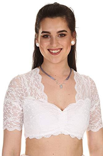 Nina von C. Damen Dirndlbluse Spitzenbluse Dirndl Dirndl Bluse Spitze 48463971 weiß Gr.40